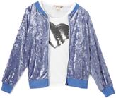 Speechless Chambray Track Jacket & White Sequin Heart Tee - Girls