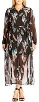 City Chic 'Longline Lady' Maxi Shirtdress (Plus Size)