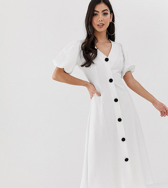 ASOS DESIGN Petite midi skater dress with puff sleeves and contrast buttons