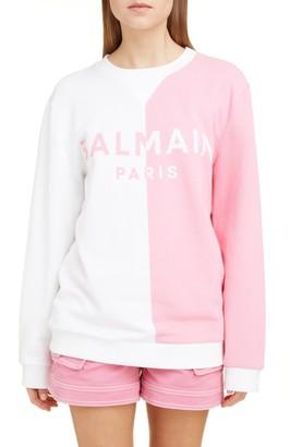 Balmain Bicolor Logo Jacquard Stretch Cotton Sweater