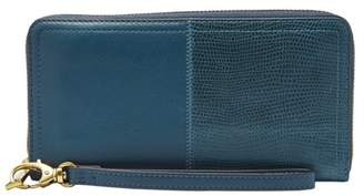 Fossil Logan Rfid Zip Around Clutch Wallet Twilight