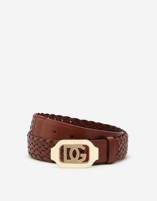Dolce & Gabbana Woven Calfskin Belt With Crossover Logo