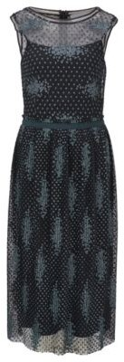HUGO BOSS Sleeveless Dress In Embroidered Tulle With Dot Motif - Patterned