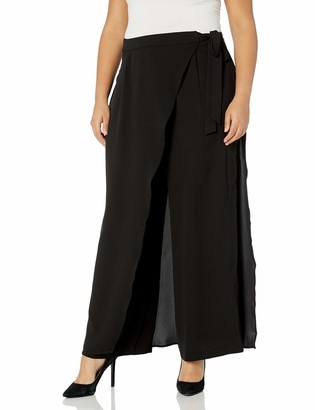 City Chic Women's Apparel Women's Plus Size Wide Leg Culotte Style Pant with Faux wrap Detail