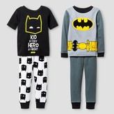 Batman Toddler Boys' Snug Fit 4-Piece Cotton Pajama Set - Black