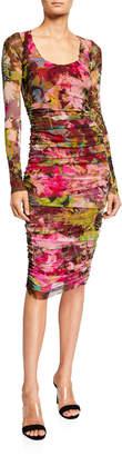 Fuzzi Floral Long-Sleeve Shirred Dress