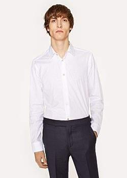 Paul Smith Men's Slim-Fit White Floral Jacquard Cotton Shirt