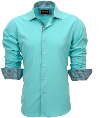 Couture Suslo Men's Button Down Shirts GREEN - Green Contrast Cuff Long-Sleeve Button-Up - Men