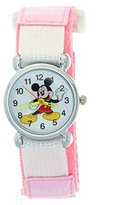 TimerMall Disney Cartoon Mickey Mouse Pink Nylon Velcro Tape Quartz Kids Watches