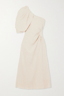 Johanna Ortiz Sea Island Convertible One-shoulder Crinkled-crepe Midi Dress - Ivory