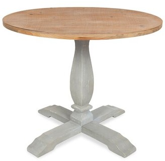 Gracie Oaks Cofer Round Pedestal Solid Wood Dining Table Gracie Oaks Base Color: Gray