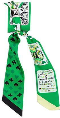 One Kings Lane Vintage Hermes Emerald Jeu de Cartes Twilly - Vintage Lux