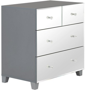 New Bellagio Mirrored 2 + 2 Drawer Chest - White/Mirrors, Grey/Mirrors