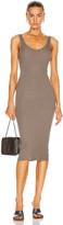 Enza Costa Silk Rib Tank Midi Dress in Dark Sage | FWRD