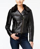 Jessica Simpson Raven Faux-Fur Moto Jacket