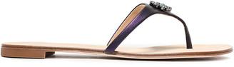 Giuseppe Zanotti Rock 10 Crystal-embellished Metallic Leather Sandals
