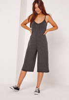 Missguided Jersey Strappy Plunge Culotte Romper Charcoal Grey