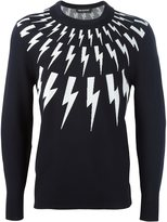 Neil Barrett lightning bolt intarsia jumper