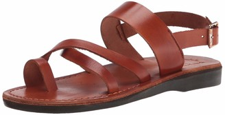 Jerusalem Sandals Mens Amos Black Durable Handcrafted Real Leather Sandals Slide Sandals for Men with Toe Loop Adjustable Counter Strap with Buckle Closure Textured Sole Waterproof Size 7 US