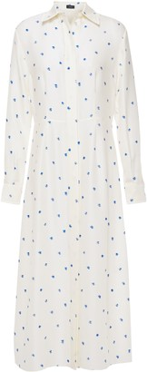 Joseph Printed Ribbed Silk Midi Shirt Dress