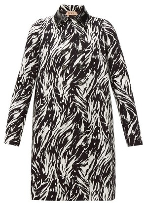 No.21 No. 21 - Zebra-print Double-breasted Cotton & Pvc Coat - Womens - Black White