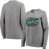 Unbranded Women's Pressbox Heathered Gray Florida Gators Big Team Logo Knobi Fleece Tri-Blend Crew Neck Sweatshirt