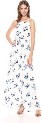 Moon River Women's Halter Maxi Dress with Back TIE Indigo Floral XS