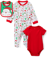 Baby Starters Red & White 'First Christmas' Bodysuit Set - Infant