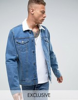 Reclaimed Vintage Inspired Oversized Denim Jacket With Borg Collar