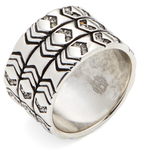 House Of Harlow Silver-Tone Echo Crest Cocktail Ring