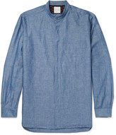Paul Smith Grandad-Collar Cotton and Linen-Blend Chambray Shirt