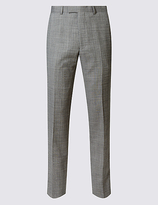 M&s Collection Luxury Grey Textured Tailored Fit Wool Trousers