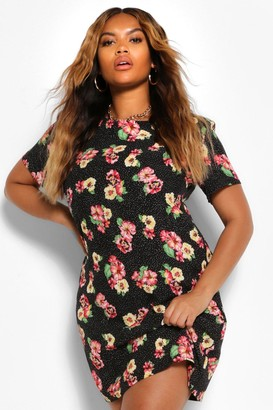 boohoo Plus Floral Rose Cap Sleeve Shift Dress