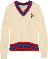Gucci Appliquéd Cable-knit Wool Sweater - Beige