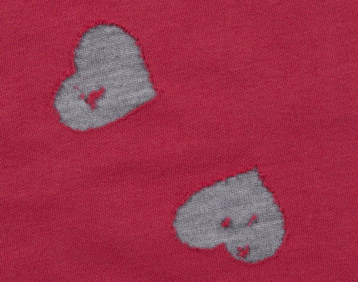 "Erge HighLow Tee ""Double Knit Hearts"" - Raspberry-12 Months"