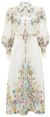 Zimmermann Wavelength Belted Floral-print Linen Midi Dress - Cream Print
