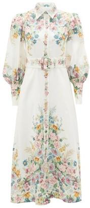Zimmermann Wavelength Belted Floral-print Linen Midi Dress - Womens - Cream Print