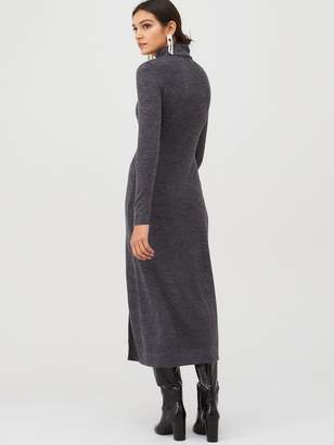 Very Cut and Sew Roll Neck Midi Dress - Grey Marl
