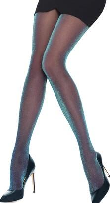 Annes styling Rainbow Glitter Tights 30 Denier Transparent Womens Pantyhose Sparkly Lingerie Shiny Hosiery Rainbow TG-2