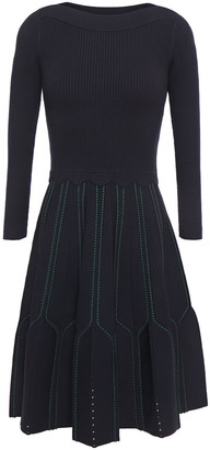 Sandro Pointelle-trimmed Pleated Knitted Dress