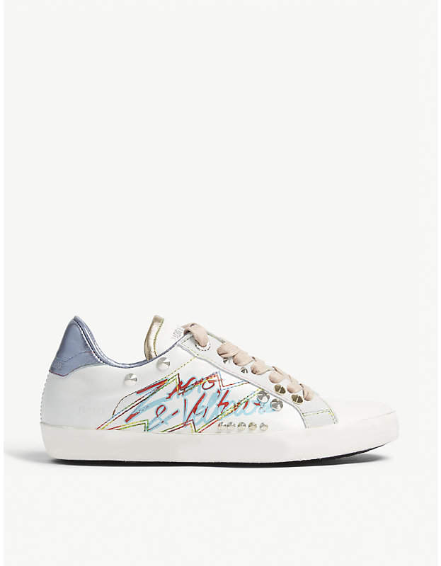 Zadig & Voltaire ZADIG&VOLTAIRE Graffiti and stud leather trainers