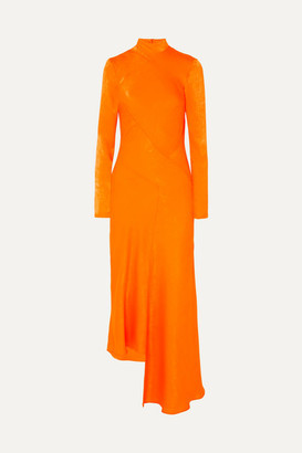 House of Holland Asymmetric Hammered-satin Dress - Orange