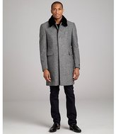 Prada black chevron wool blend fur trim three-quarter coat