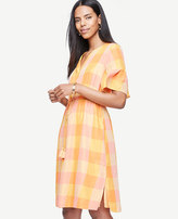 Ann Taylor Plaid Split Neck Drawstring Dress