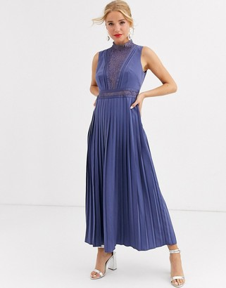 Little Mistress lace detail midi dress with pleated skirt in lavender gray