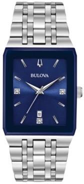 Bulova Men's Futuro Diamond-Accent Stainless Steel Bracelet Watch 31x45mm, Created for Macy's