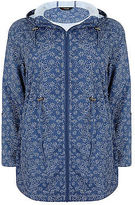 Yours Clothing YoursClothing Plus Size Womens Top Flower Print Shower Resistant Jacket Hood