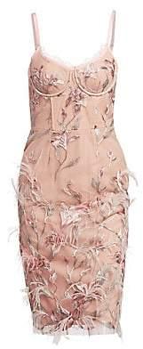 Marchesa Women's Embroidered Corset Sheath Dress