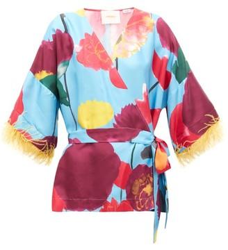 La DoubleJ Feather-trimmed Floral-print Silk Blouse - Womens - Blue Print