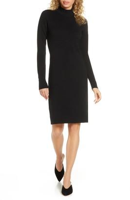 Charles Henry Mock Neck Sweater Dress